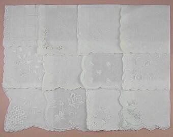 Vintage Hanky Lot,Wedding Hanky Lot,One Dozen White Wedding Vintage Hankies Handkerchiefs (Lot #83)