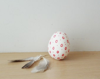 White Easter egg, large, red and white, porcelain, Easter egg, unglazed, ceramic egg with red circles, modern Easter decor, minimalist egg