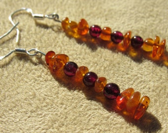Natural Garnet and Amber Earrings in Sterling Silver, Healing Stones, Yoga Jewelry, Kundalini Rising Gemstone Synergy, Woman's Cycles Stones