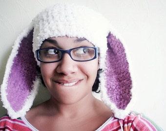 Adult Bunny Hat, Teen Bunny Ears, Rabbit Hat, Bunny Costume, Womens Hat, Bunny Beanie, Teen Hat, White Plum, Bunny Photo Prop   Winter Hat