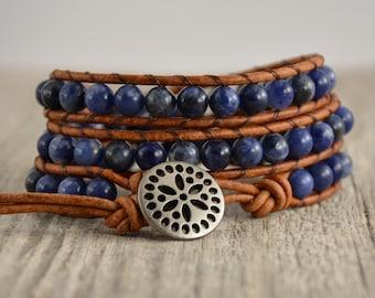 Midnight blue bohemian chic wrap bracelet. Beaded rustic jewelry