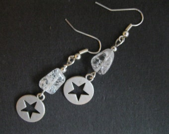 Crystal and Star Charm Earrings - Silver Star Charms - Silver Earwires
