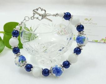 Blue patterned porcelain bracelet UNIQUE#6
