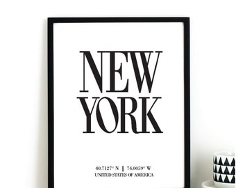 NEW YORK Longitude Latitude Fashion Illustration Digital Instant Printable Art Print by  Basemint Liselle Fernandes