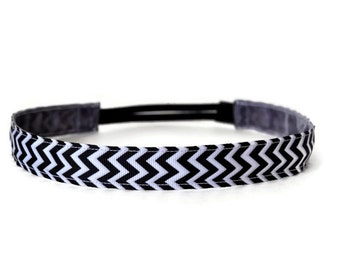 Non-slip headband. Running headband.  Workout headband.  2 Sizes available.  Black and White Chevron. 1 inch wide