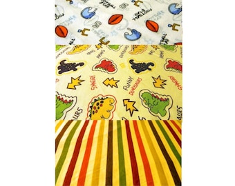 Children's Knit Fabrics - Large Scrap Fabric Pieces - Dinosaurs, Football and Stripes