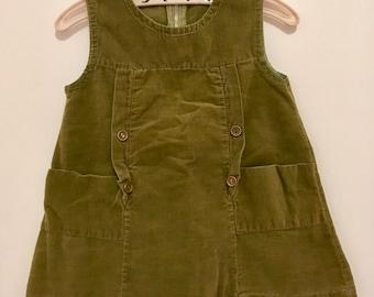 Vintage moss Green corduroy 2T dress handmade with pockets
