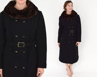 60s Black Wool Knit Mink Collar Coat   Belted Double-Breasted Wool Coat   Feringe   Large