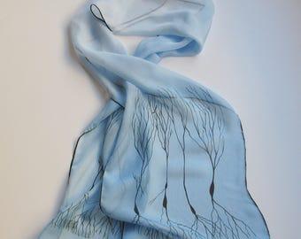 Pale Blue Neuron Scarf in Silk Chiffon