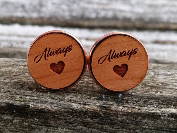 Always Cufflinks. Wedding, Groom Gift, Anniversary, Birthday, Groomsmen, Father's Day. Silver, Gold, Rose Gold, Gunmetal.