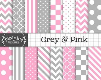 Papier rose et gris Digital Scrapbook numérique, papier, papier de fond, téléchargement immédiat, utilisation commerciale, Chevron rose, rose Po