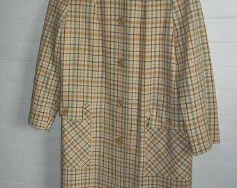 Cream Wool with Blue Brown Plaid Vintage 60s ladies Winter Coat S M Wetherbee