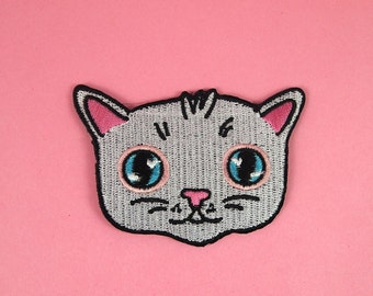 Cat face embroidered patch - Iron on patch - sew on patch - cat patch - cat iron on patch - I like cats - Cat face - cat gift - cats