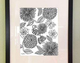 Adult Printable Coloring Page, Floral Butterfly Design, Instant Download, Digital Print