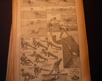 French Lithograph - Swimming Natation -  1920s engraving - original page Petit Larousse Dictionary great for framing learn French