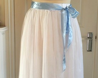 White and blue tulle tutu skirt with blue rosebuds size small
