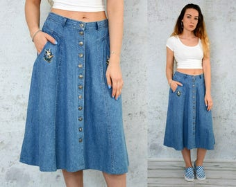 "DUCK Skirt Jean High waisted jeans denim vintage midi button up down pockets 1990's Blue L Large size 32"" waist"