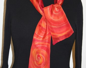 Silk Scarf Handpainted. Red, Orange Hand Painted Shawl. Handmade Silk Wrap FLAMING TANGO. Size 8x54. Birthday, Mother Gift. Gift-Wrapped