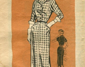 1960s Mail Order Dress Pattern 9209 Printed Pattern Bust 35