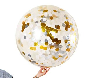 Jumbo Confetti Balloon - white/silver/gold