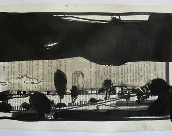 The Black Pictures, Curtain, Original India Ink Landscape Drawing on Paper, Stooshinoff