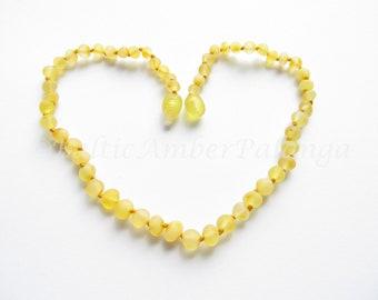 Baltic Amber Teething Necklace, Raw Unpolished Lemon Color Beads