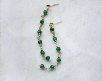 emerald earrings, long green post earrings, gold emerald posts
