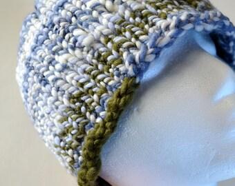 Hand Knit Hat. Hallgrímur Hat - Handspun Merino Wool, Chunky HandKnit Beanie, Knit Hat in Olive Green, Grey, Fleece White, Horizon Blue