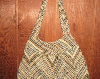 Vintage 1970's Chevron Striped Woven Fabric Hand Bag GORGEOUS Earth Tone Colors