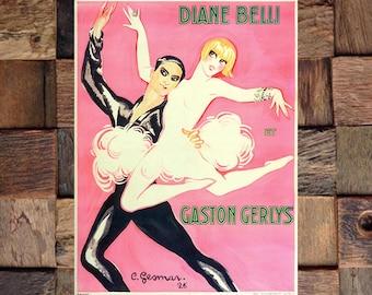 Gesmar Diane Belli and Gaston Gerlys Vintage Art Print, Gesmar Art, Vintage Dance Ad, Vintage Art, Giclee Art Print, fine Art Reproduction