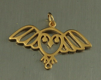 24K Gold Plated Sterling Silver Owl Charm--Wings Spread Owl Pendant--Unfolded Wings--Bird Charm--Hoot Owl Pendant--Aviary Lover