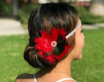 Red & Black Feather Fascinator Hair Piece