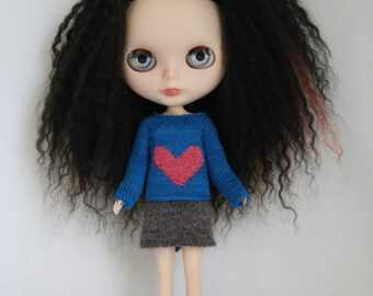 Blythe doll Big Heart Sweater knitting PATTERN - heart short or long sleeve for Neo - instant download - permission to sell finished items