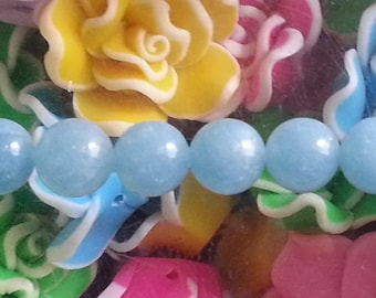 1 Pearl blue sponge quartz 8mm hole 1 mm