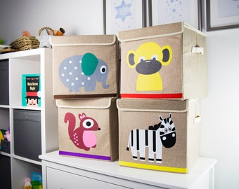 Kids Organic Toy Storage Box With A Choice Of 4 different Animal Prints. Kids Bedroom Storage, Nursery Storage box