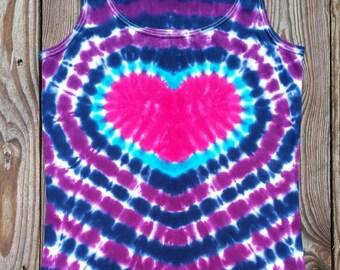 Womens Heart Tie Dye Tank Top,  Women's Sizes S M L XL 2XL,  Heart Tie Dye,  Pink Purple and Blue Tie Dye Top, Hippie Shirt