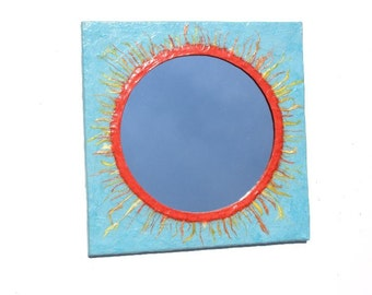 Orange sunburst mirror blue square,Decorative Wall Mirror,Sun Mirror