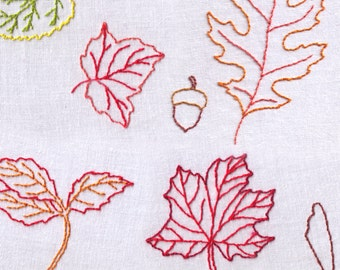 Leaves Hand Embroidery Pattern, Fall, Autumn, Foliage, PDF