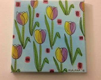 canvas original painting tulips