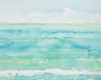 ORIGINAL Watercolor Painting, Original Seascape,Minimalist Seascape,Original Ocean Painting,Seafoam,Coastal Wall Art, Coastal Watercolor