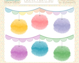 Pastel Party Clip Art Set - Personal & Commercial Use