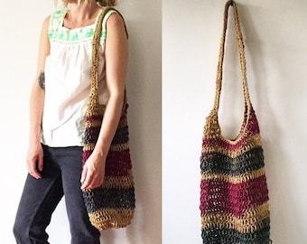 20% OFF SALE Vintage Net Bag , Woven Jute Bag , Summer Bag