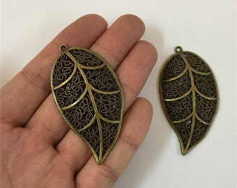 5 units antique brass plant Leaves pendant charms jewelry finding suppliers D-3-131