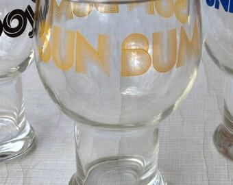 Glass/Trinkglas/Bierglas 70s 70s with print sun bum/0.5 liter/Vase