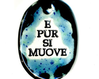 E Pur Si Muove or Ode to Galileo Ceramic Necklace in  Blue and Black