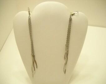 """Vintage 5 1/2"""" Silver Tone Pierced Earrings (1950)"""