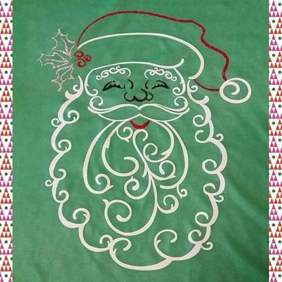 Filigree Santa Tee - Short or Long Sleeve - HEAT PRESSED Design