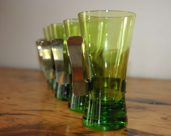 Vintage Green Demitasse Glasses Vintage Green Liquor Shot Glasses Vintage Demitasse Coffee Cups Brass Handles from The Eclectic Interior