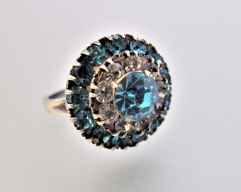 Vintage Blue and Clear Glass Rhinestone Sterling Silver  Statement Ring