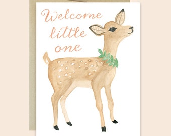 Baby Congratulations Card, Baby Fawn Card, Watercolor Baby Card, Welcome Little One Card, Sweet Baby Congratulations Card, Gender Neutral